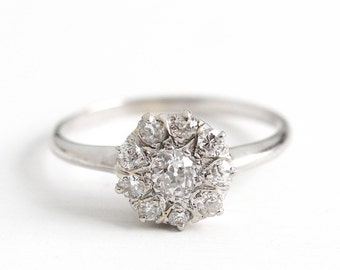 Antique 14k White Gold .50 CTW Diamond Cluster Ring - Size 7 1/2 Vintage Fine Art Deco Engagement Bridal Wedding Jewelry w/ Appraisal