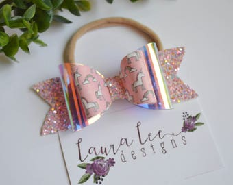READY TO SHIP, Pink Unicorns and Glitter Stacked Bow on Nylon Headband or Clip, Newborn, Smash Cake, Sparkle Bow, Toddler, First Birthday