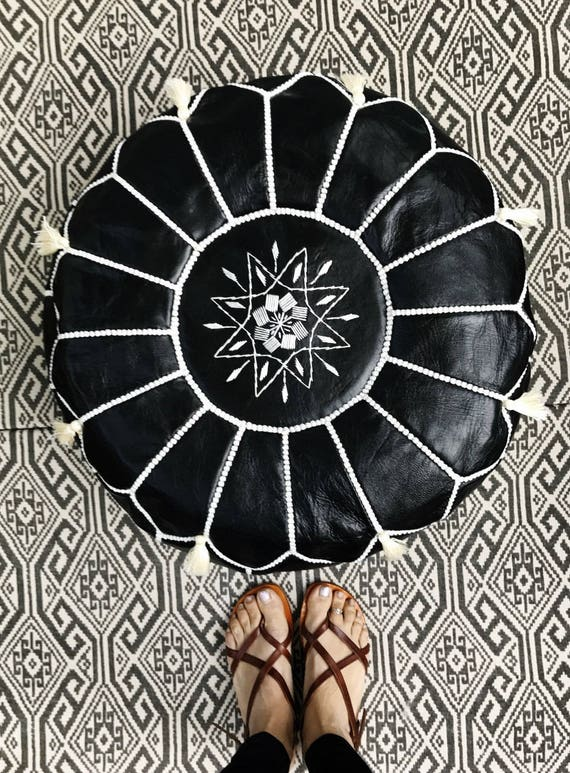 30% OFF Pouf Sale>> Black with White Stitching Moroccan Leather Pouf with Tassels & Pompoms >>  Home gifts, wedding gifts