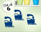 Nursery Train Decor, Railroad Wall Decor, Choo Choo Train Steam Engine Mini Wall Decals (01710d1v)