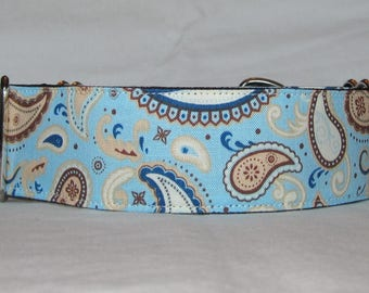 Handsome  Paisley Martingale Dog Collar - 1.5 or 2 Inch - blue brown pattern fun white