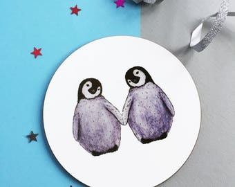 Cute penguin gift - Penguin coaster. Penguin couple. Penguin lovers gift. Penguins in Love. Animal coaster.