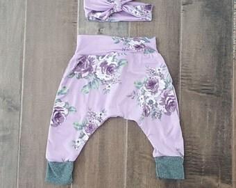 Pink Floral Harem Pant and Headband Set