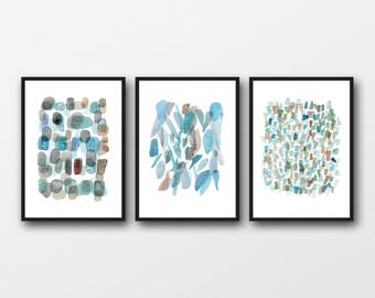 Sea glass art prints, Abstract watercolor art set of 3 prints, watercolor paintings blue green, abstract paintings