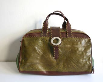 Tooled Green Leather Duffle Bag