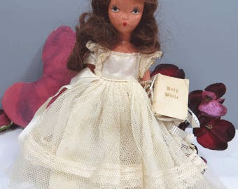 Nancy Ann BISQUE Doll with Holy Bible, Ivory Cream Dress, Vintage Storybook Doll