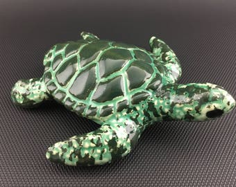 Ceramic Turtle Pipe // Double Layer Marbled Green Glass Glaze