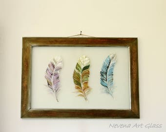 Glass Painting, Framed Glass Art, Decorative Glass Painting, Feather Picture