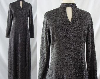 Vintage Seventies Dress - 1970s Black and Silver Lurex Maxi Dress - 70s Sparkle Long Sleeve Disco Dress - Large
