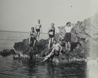 1930's French Summer Photo - Men & Women on Rocks by the Sea