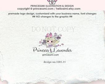 1201-11 Lavender girl logo,  purple flowers logo,  premade lavender logo, photography business logo, boutique logo