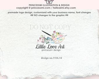1156-14 Art shop logo, paint brushes Logo Design, Artist logo,  business logo template, kids painting, painting school, bird, child business