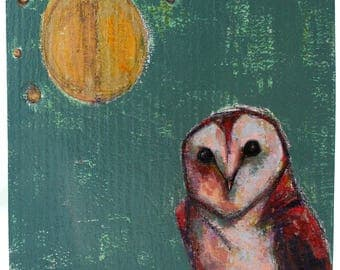 owl under starry night sky painting original a2n2koon barn owl bird wall art on textured reclaimed wood moon stars owl olive mint green gold