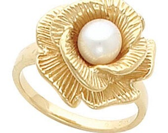 14K Yellow Floral-Inspired Ring Mounting for 6-7.5mm Pearl