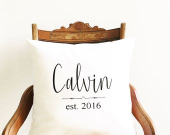 family name pillow cover, personalized pillow cover, farmhouse pillows, newlywed gift, wedding gift, gift for couples, monogram pillow