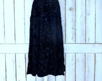 Vintage black crinkle velvet sequin boho gypsy maxi skirt/crushed velvet tiered festival skirt/large