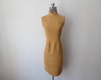 Stunning Vintage '50s/'60s Camel Textured Wool Cheongsam Dress, 17 Inch Bust