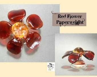 Red Flower Paperweight - Boro Lampwork Glass Sculpture