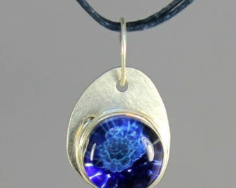 Ocean Blue Glass & Sterling Silver Pendant - Handcrafted Lampwork