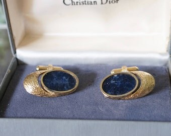 Free Shipping! Vtg. CHRISTIAN DIOR Signed Cufflinks in Gold Brushed Metal and Lapis Lazuli- In Box