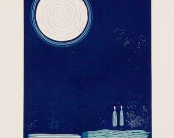 linocut, Moonstruck, moon, night, couple, dark blue, ocean, printmaking, together, engagement, wedding, pair, lovers, romantic art, stars