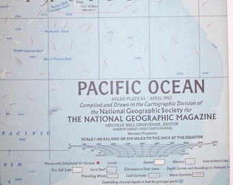 "Vintage 1962 National Geographic Map-PACIFIC OCEAN-25"" wide x 19"" tall-Double Sided-NICE-Free Shipping!"