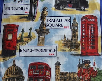 Vintage Kitchen Towel. London Themes by Ulster Weavers. 100 % Pure Irish Linen. Made in Ireland.