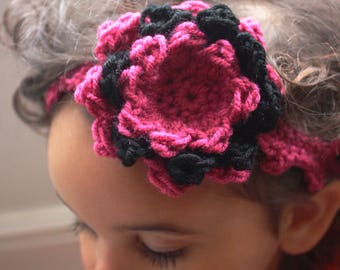 SUMMER SALE 12 to 24m Hot Pink Headband Baby Crochet Flower Prop Hot Pink Baby Flower Girl Crochet Headband Toddler Girl Headband Costume