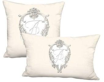 Heart Frame Initial Monogram Pillow - Pillow Cover 12x16 12x18 12x20 12x22 12x24 14x20 14x22 14x26 16x20 16x24 16x26 28x Inch Linen Cotton