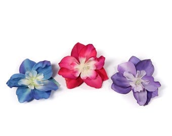 Small Tropical Pinup Hair Flowers - Available in Blue, Pink, Purple