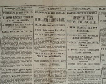 Rebel Army Falling Back - The Boston Herald Newspaper October 28, 1862