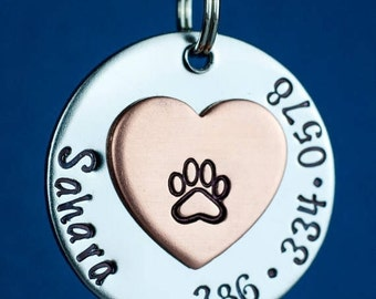 "Custom Pet Tag - Heart Dog Tag - 1"" Stainless Steel Pet ID Tag - Personalized Cat Id Tag - Custom Pet Tag"