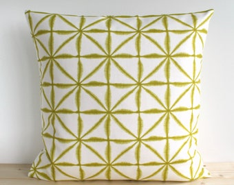 Decorative Pillow Cover, Chartreuse Pillow Cover, Pillowcase, 16x16, 18x18, 20x20, Pillow Sham, Cushion Cover - Tie-dye Lattice Chartreuse