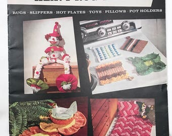 Vintage 1950s Knitting/Crochet Patterns // Rugs Slippers Hot Plates Toys Pillows Pot Holders // Knitted with Aunt Lydia's Heavy Rug Yarn