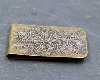 Compass East & West Design Money Clip Etched Brass
