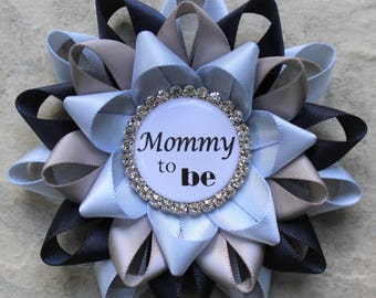 Baby Boy Shower Decorations, Mommy to Be Pin, Boy Baby Shower Corsages, Grandma to Be, Daddy to Be Pin, Ice Blue, Navy, Gray