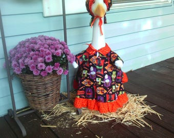 GOOSE CLOTHING - Halloween Lawn goose Dress printed with Halloween Party Treats and Snack on the fabric