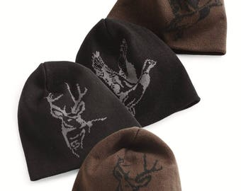 Deer Buck or Mallard Duck Hunting Beanie Skull Cap Brown or Black with Monogram or Name Embroidered
