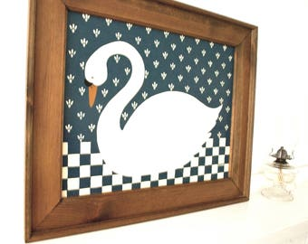 Vintage Folk Art Orig. Painting of Swan with Signature