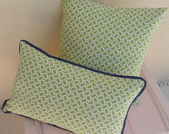 Outdoor Bolster Accent Pillow Cover,  12 x 20 inches, mini leaf and stripe, Kaufmann Fabric, navy piping