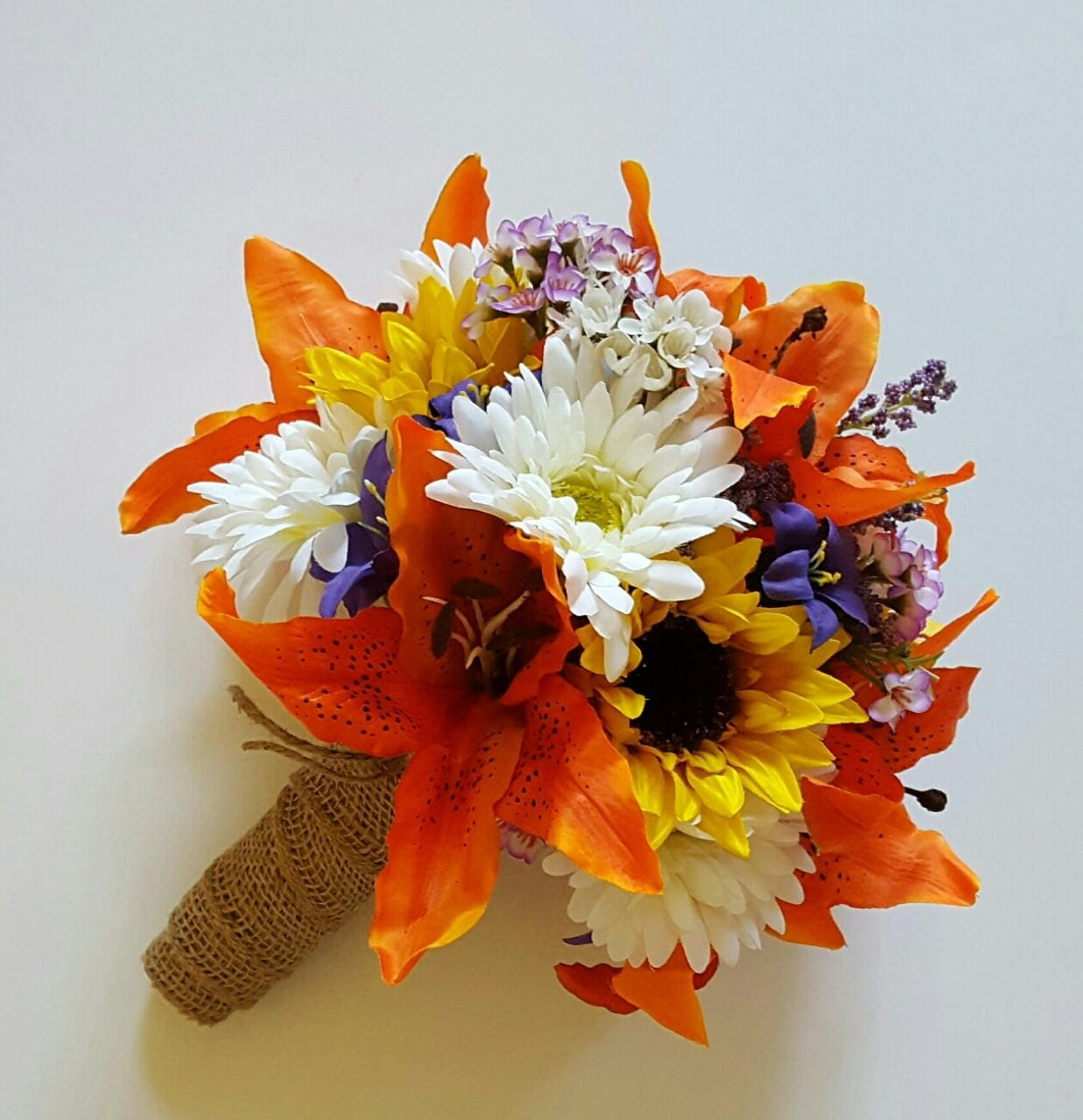 Sunflower and tiger lily wedding bouquet orange lily bridal for Fall wedding bouquets for sale
