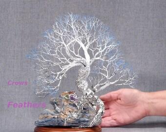 Wire Tree Of Life sculpture, Perseverance, handmade gemstone tree art, Blue Kyanite, Carnelian, Amethyst, wood base, OOAK
