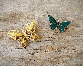 Vintage Napier Gold Tone and Turkoise Enamel Butterfly Pins
