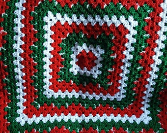 Red White and Green afghan