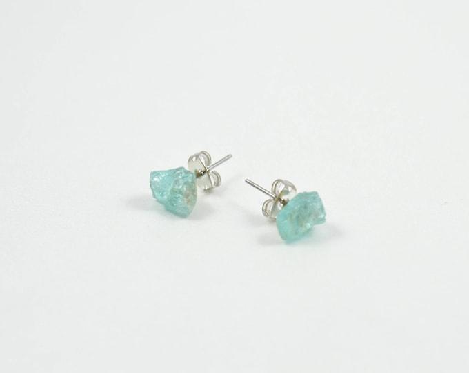 Apatite Raw Crystal Stud Earrings, Apatite Earrings, Apatite Stud Earrings
