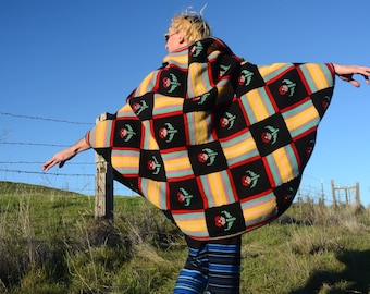 Crochet Shrug Black Squares and Psychedelic Flowers Wool