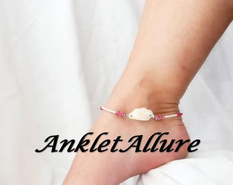 Anklet Ankle Bracelet Beach Anklet Shell Anklet Hot Pink Anklet Ankle Jewelry GUARANTEE Anklets for Women