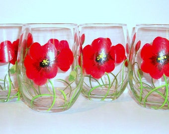 Poppies Red Bridesmaids Gift  Hand Painted Stemless Wine Glasses Set of 4 - 21 oz. Red Flowers Poppy Painted Glasses Valentines Day Gift