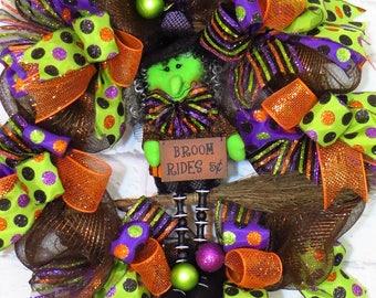 Halloween Wreath,  Witch Wreath, Halloween Decor, Halloween Decoration, Broom Rides 5 Cents