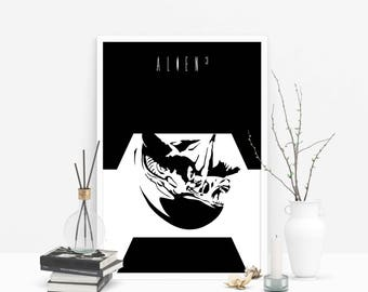 Lead (Pb) Us Not Into Temptation // Alien 3 - Alternate Horror Movie Poster // Alien Scout Silhouette Illustration in Black and White
